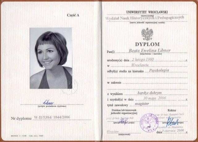 >Dyplom Psychologa Uniwersytetu Wrocławskiego