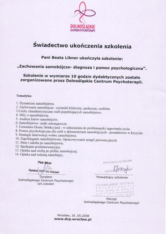>Szkolenie z zakresu diagnozy i pomocy psychologicznej (zachowania samobójcze)