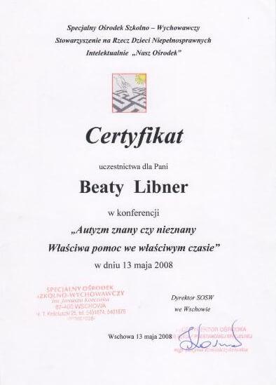 >Certyfikat uczestnictwa w konferencji nt. autyzmu
