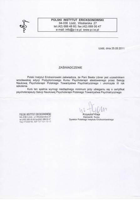 >Czteroletni Kurs Psychoterapii (atest Polskiego Towarzystwa Psychiatrycznego)